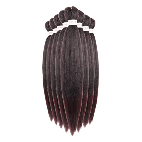 Ombre Braiding Hair Prestretched Xpression Ombre Pre stretched Hair Easy Braid Synthetic Fiber 8Packs Hot Water Setting Yaki Texture Braids Synthetic Braiding Hair Pre-stretched 26 inch (#T1B/99j, Black to Wine Red)
