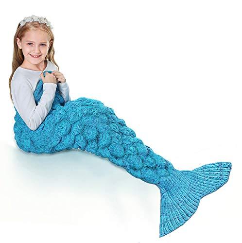 FOCHI Meerjungfrau Decke Kinder, Gestrickt Warmes Wohnzimmer Sofa Decke Schlafsack Für Weihnachts Geburtstagsgeschenk (Blau)