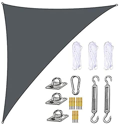 BOYH Toldo Vela de Sombra Triángulo, 95% UV y Transpirable Impermeable, para Jardín, Patio, Exteriores,4 x 4 x 5.7mi