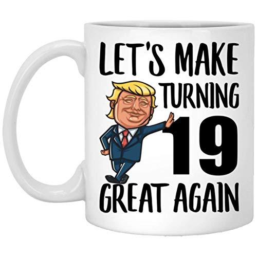 Feliz cumpleaños número 19 para niños, niñas que cumplen 19 años, nacido en 2000, taza de café blanca divertida de 11 oz
