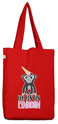 ShirtStreet süße Geschenkidee Unicorn Eis Ice Cream Bio Baumwoll Jutebeutel Stoffbeutel Gorilla - Ich bin ein Einhorn, Größe: onesize,Red