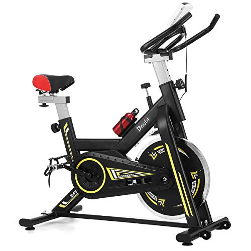 Indoor Cycling Bike Stationary, Doufit Exercise Bike for Home Use, Adjustable Belt Driven Spinning Workout Bicycle with Tablet Holder and LCD Monitor (Black)