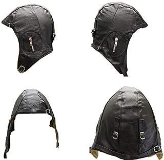 Leather Flight Pilot Motorcycle Vintage Costume Helmet Black Size Medium