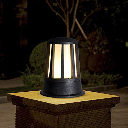 ZZTX Lámpara de Poste de Patio Impermeable al Aire Libre IP54, Aluminio Negro Redondo Metal E27 Columna de Pilar Decorativa Linterna de luz para Parques, Comunidad, Patio, jardín, Villa, balcón (