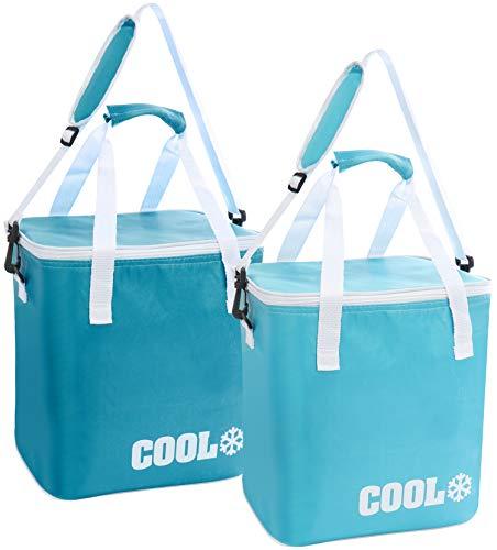 COM-FOUR® 2x koeltas - Klassieke opvouwbare thermische koelbox, geïsoleerde tas voor picknick, camping, buiten [kleur varieert] (02 stuks - blauw/gevarieerd)