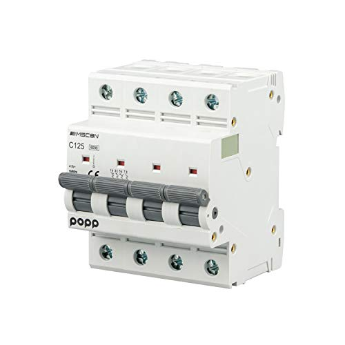 Pack de x1x3x6 POPPInterruptor Automático Magnetotérmico 4P serie MSC8N4 gama Industrial CURVA C corte 6000A 80A,100A,125A(125A, Pack 1)