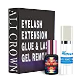 Professional Eyelash Extension Glue 10 ml,0.5-1 Sec Dry Time & 7-8 Weeks Retention with Eyelash Extension Gel Remover 20ml | Remover Adhesive in 60s