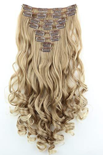 PRETTYSHOP XL 45cm 7 Teile Set CLIP IN EXTENSIONS Haarverlängerung Haarteil Voluminös Gewellt Blond Mix CE4-1
