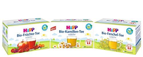 Hipp Bio-Tee-Mix bestehend aus je 20 Aufgußbeutel: Bio-Fenchel 30g, Bio-Kamille 30g, Bio-Früchte 40g