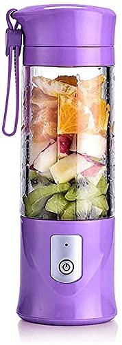 vfrt Vaso de exprimidor eléctrico de seguridad, mezclador de zumo de frutas USB, mini portátil recargable/mezcladora de jugos, mezclador de hielo de 420 a 530 ml botella de agua (color morado)