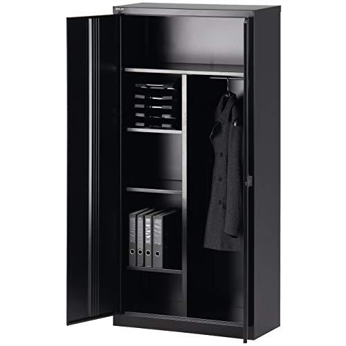 BISLEY Garderobenschrank abschließbar in schwarz Metallschrank Stahlschrank Werkzeugschrank Blechschrank Schrank Büroschrank H 195 x B 91 x T 40 cm