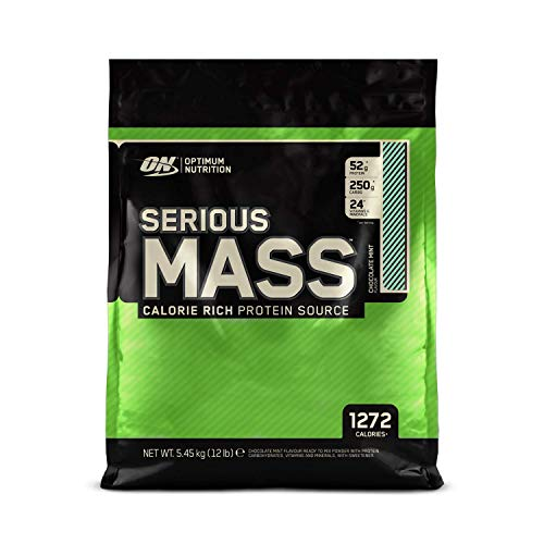 Optimum Nutrition Serious Mass Protein Powder High Calorie Mass Gainer with Vitamins, Creatine Monohydrate and Glutamine, Chocolate Mint, 16 Servings, 5.45 kg, Packaging May Vary
