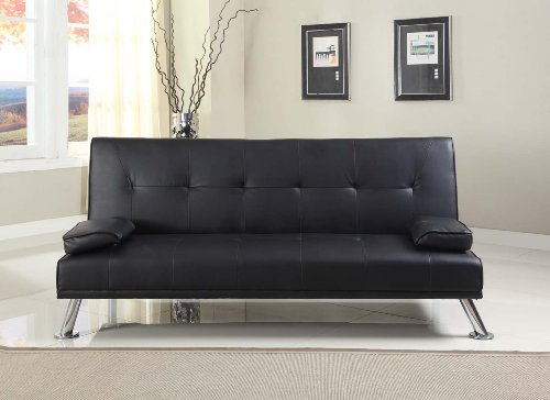 Comfy Living Large Stunning Italian Designer Faux Leather 3 Seater Sofa Bed Futon in BLACK