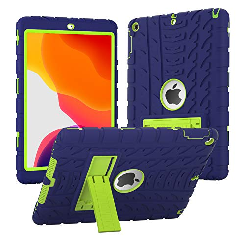 iPad 6th Generation Cases, iPad 9.7 Case 2018 (9.7'' Air 1st/5th/6th 2017/2018) Heavy Duty High-Impact Shock Absorbent Silicone + Hard PC Bumper Protective Case (Blue/Lime)