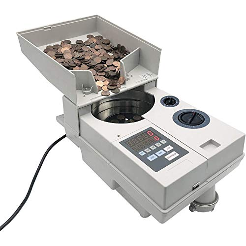 Ribao CS-10S High Speed Portable Coin Counter and Sorter, 1800 Coins per Minute Counting Speed, 2000 Coins Hopper Capacity, Suitable for International Coins and Tokens