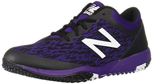 New Balance Men's 4040 V5 Turf Baseball Shoe, Black/Purple, 12 M US