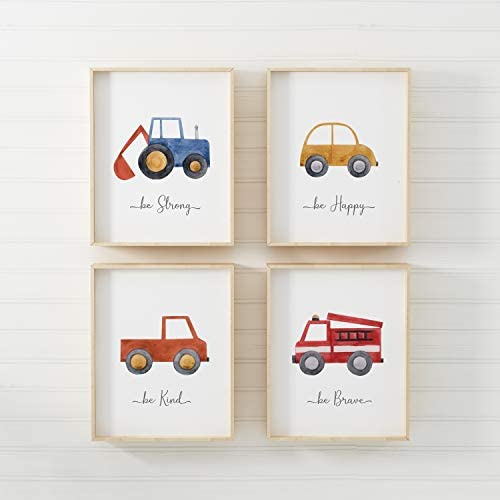 pompom® Watercolour Cars Children's Nursery Bedroom Wall Art Picture Prints + Inspirational Quotes Poster for Baby Boy. Set of 4 [Picture Frames NOT Included] (A4)