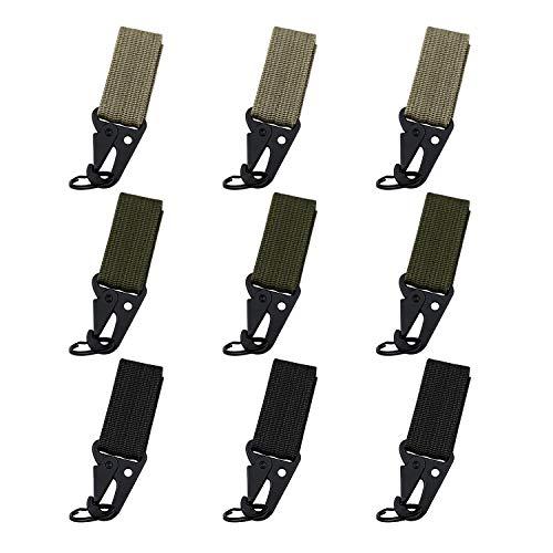 WEKON set van 9 Tactical Gear Carabiner Clip Opknoping Riem Karabijnhaak Nylon Webbing Buckle Strap Clip Molle Rugzak Tape Sleutelhangers