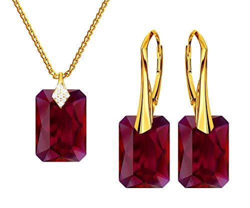 *Beforya Paris * Novedad Scarlet * Plata 925 / Oro 24 K Mujer Set de joyas – joyas con cristales de Swarovski Elements – Pendientes y collar con caja de regalo