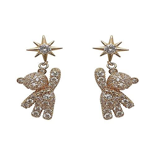 Pendientes simples de taladro completo lindo 925 plata joyería de moda estrella colgante cristal decoración oso(01)