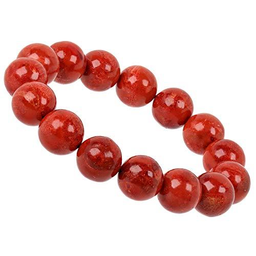 PowerBead - Bracciale con perle in corallo, 12 mm, da donna, colore: rosso