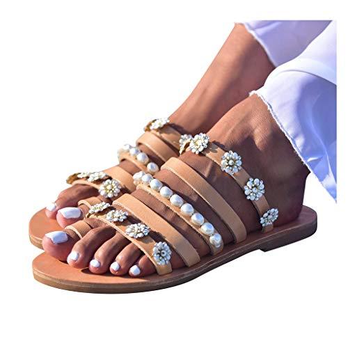 Dasongff Damen Sandalen Pantoletten Blumen-Perlen Sommer Schuhe Mode Strand Zehentrenner Flip Flops Bohemian Slippers Hausschuhe Komfort Sandaletten Elegante Ethno