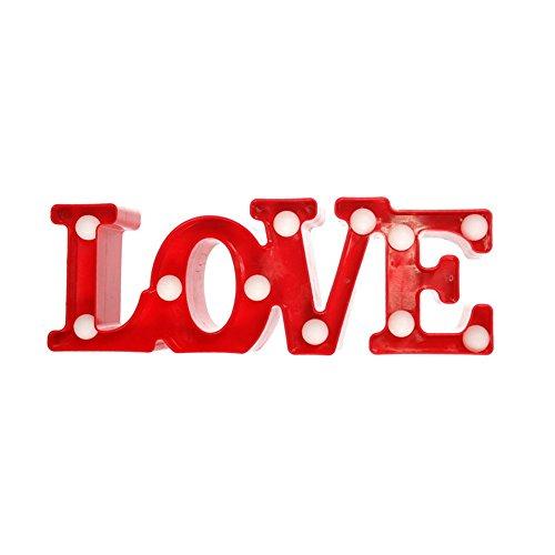 Vory Romantique 3D Love Letter LED Blanc Chaud LED Night Light Lampe de Table pour Chambre/Lit Décoration Mariage Saint Valentin Anniversaire Rot