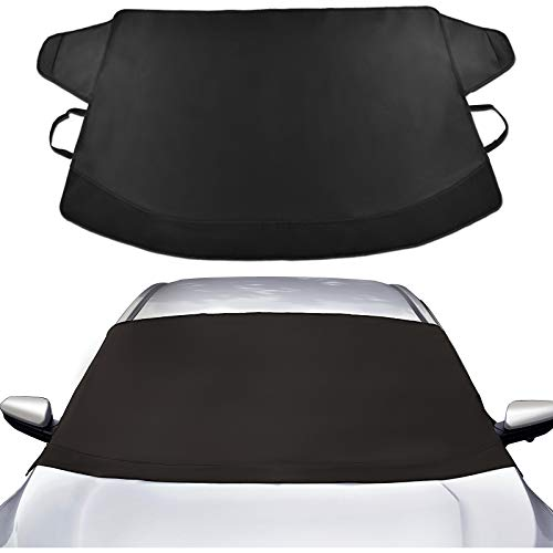 Thicken Windproof Windshield Snow Cover, Waterproof Ice and Snow Frost Protector with Heavy Duty Material for Most Cars, SUVs/Vans and Small Trucks No Scratch