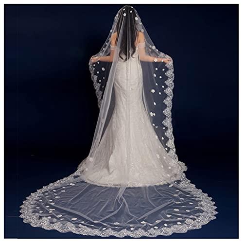 YYOBK Ts 1,5/2 / 3m Braut Romantische 1-Layer-Spitze Ohne Kamm-Hochzeitsschleier, Hochzeitskleid Schwanz-Schleier Hochzeitszubehör (Color : 2 M)