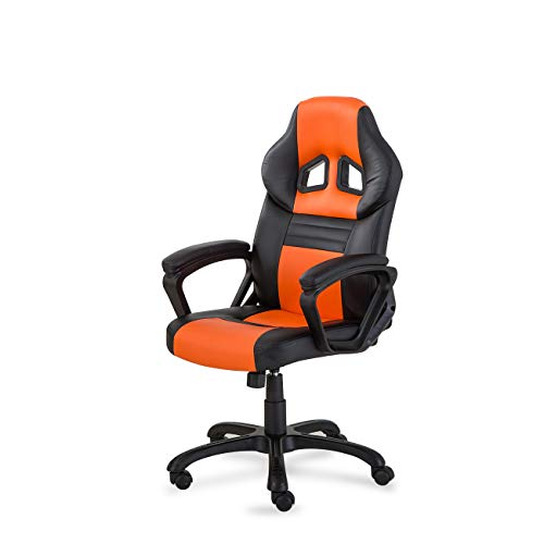 BELLEZE Executive Racing Office Chair PU Leather Swivel Computer Desk Seat High-Back, Black/Orange black chair gaming