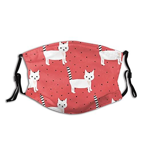 Pañuelos de cara de gato a rayas blancas M-A-S-K con bolsillo lavable cara pasamontañas tela reutilizable M-A-S-Ks ajustable con filtro