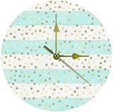 Reloj De Pared Reloj De Pared Grande Reloj De Cocina Sala De Estar Dormitorio Oficina Baño Reloj De Pared Reloj Para Niños Cuarzo Silencioso Reloj Que Cuelga Con Pilas 25Cm - Gotas Doradas Puntos Raya
