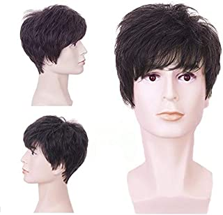 Kaneles Natural Short Dark Brown Synthetic Wig for Men Boy Soft Fluffy Cosplay Hair Full Wigs