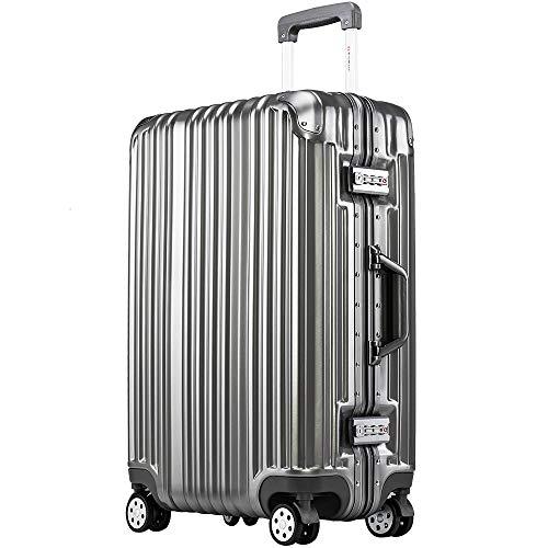 [トラベルハウス]Travelhouse スーツケース キャリーバッグ アルミフレーム スクラッチ仕上げ 超軽量 大容量 TSAロック (M, グレー)