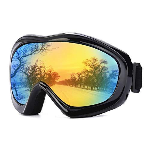 JTENG Maschere da Sci, Maschere da Sci da Sci Protezione UV Maschere da Sci Occhiali Portante Occhiali da Neve Occhiali da Snowboard Occhiali da Moto con Specchio per Uomo Donna Ragazzi(Nero)