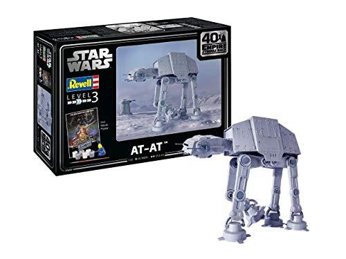 Revell 05680 AT-AT-40th Anniversary The Em Star Wars originalgetreuer Modellbausatz für Einsteiger, mit Basis-Zubehör, unlackiert