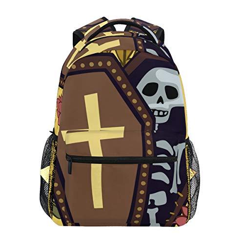 Süßer Sarg mit Skelett und Rosen Schulranzen Rucksack mit großer Kapazität Canvas Rucksack Tasche Casual Travel Daypack für Kinder Erwachsene Teenager Damen Herren