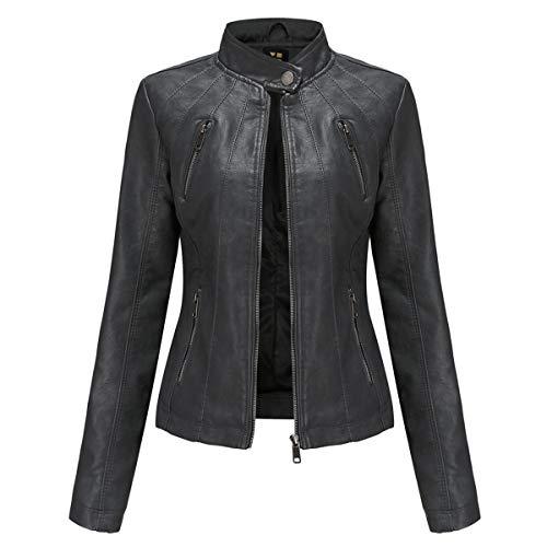 Hiser Kunstlederjacke Damen, Herbst und Winter Kurze Jacke Casual PU Lederjacke Bikerjacke mit Reißverschluss und Tasche (Schwarz,M)