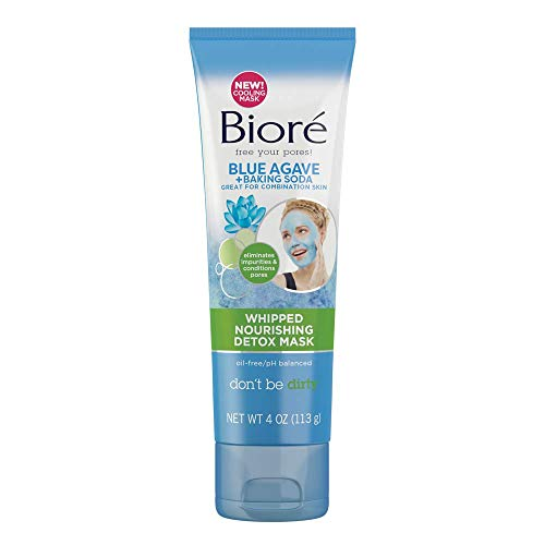 BBioré Blue Agave & Baking Soda Whipped Nourishing Detox Mask, 4 Ounce, with Blue Agave for Deep Pore Cleansing, Dermatologist Tested, Non-Comedogenic, Oil Free