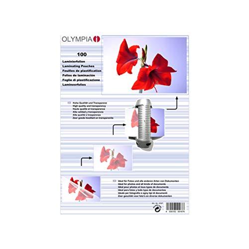 Olympia 9167, Laminierfolien, DIN A5, 80 mic, 100 Stück, glänzend/transparent, geeignet für alle Heißlaminiergeräte