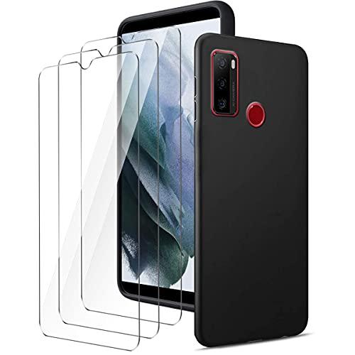 LYZXMY Cover per Ulefone Note 10 (6.52 ) Nero Custodia + 3 Pezzi Pellicola Protettiva in Vetro Temperato, Ultra Sottile in Silicone Protettivo Bumper TPU Morbido Gel Case