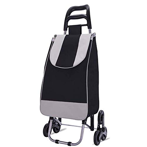 XBSXP Shopping Cart Portable Utility Carts Folding Trolley Light Weight Stair Climbing Cart with Triangle Crystal Wheel - 35KG,40L Capacity,Black a/A