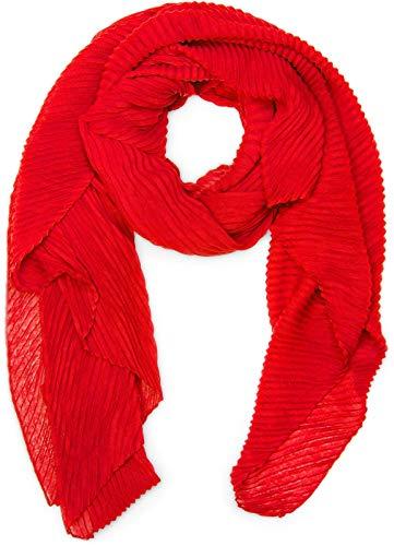 styleBREAKER gekreppter unifarbener Schal, Crash and Crinkle, Tuch, Plissee, Damen 01016107, Farbe:Rot
