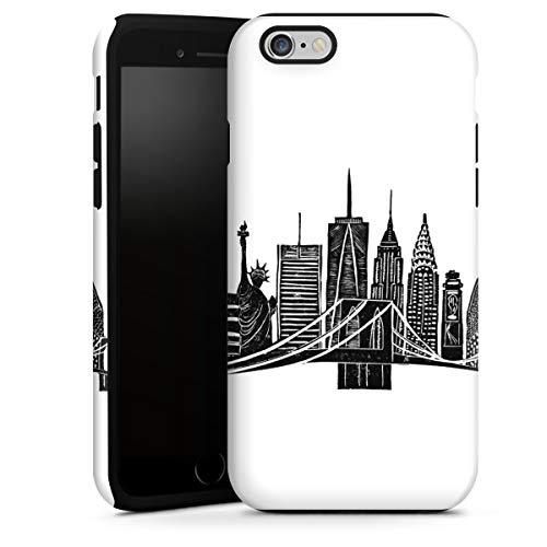 DeinDesign Cover Cellulare Opaca Compatibile con Apple iPhone 6 Plus Custodia Robusta Custodia Protettiva Opaca New York USA Skyline