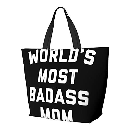 Badass Mom - Borsa a tracolla multifunzione di grande capacità, per tablet, da lavoro, borsa da viaggio, borsa da spiaggia per donne