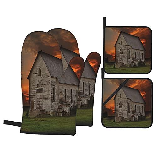 Juego de 4 manoplas para horno y soportes para ollas,edificio rústico de pradera en el oeste de Dakota del Sur,EE. UU,Casa de madera,pradera,guantes de poliéster para barbacoa con forro acolchado,