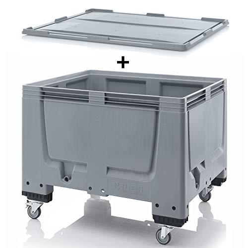 1 x Auer Big Box met wieltjes 120 x 100 x 93 met deksel * palletbox * grote box * Bigbox 120 x 100 * container
