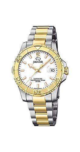 JAGUAR Reloj Modelo J896/1 de la colección Woman, Caja de 34 mm Blanco con Correa de Acero Bicolor para señora