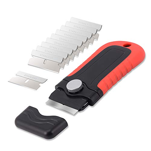 Gomake Locking Razor Blade Scraper with Safety Cap, Plastic Scraper with 10PCS Stainless Steel Blades for Glass Clean, Paint and Old Label Remove