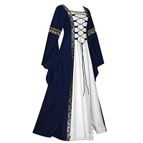 Wolfleague Femmes Robe Medievale A Manches Longues, Vintage Victoria Halloween Renaissance Costume Robe avec Manche Flare Adulte Plus La Taille Deguisement